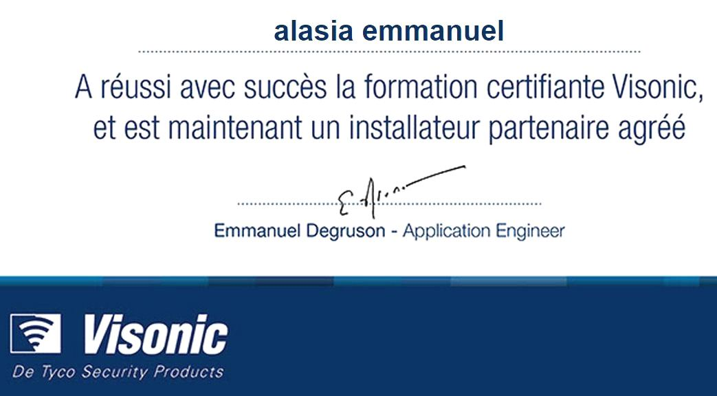 Certificat installateur visonic agree
